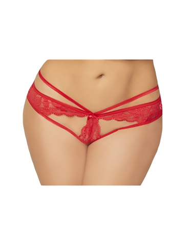 LACE CROTCHLESS PANTY - PLUS