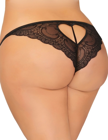 LACE HEART CROTCHLESS PANTY - PLUS
