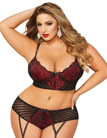 STARSTRUCK BRA AND GARTERED PANTY SET - PLUS