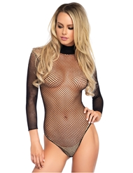 HIGH NECK FISHNET LONG SLEEVE TEDDY
