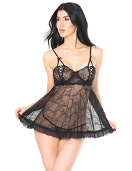 SEDUCTIVELY SWEET LACE-UP CUP BABYDOLL