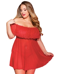 LUSTY OFF-THE-SHOULDER BABYDOLL - PLUS