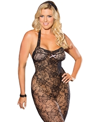 HALTER STRETCH LACE BODYSTOCKING - PLUS