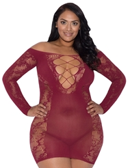 CABERNET LACE & FISHNET DRESS - PLUS