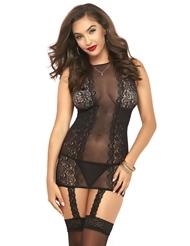 SEXY IN BLACK BODYSTOCKING DRESS