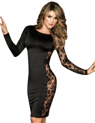 SEXY LONG SLEEVE DRESS WITH LACE SIDE