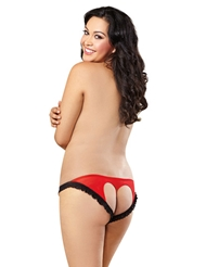 LACE RUFFLE TRIM OPEN BACK PANTY - PLUS