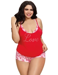 LOVE AND HEARTS CAMI & SHORT SET - PLUS