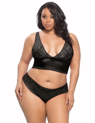 YVETTE SATIN & LACE BRA SET - PLUS
