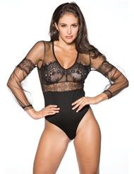 DELICATE LONG SLEEVE LACE TEDDY