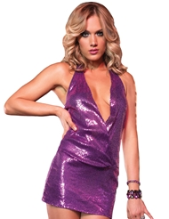 SEQUIN HALTER MINI DRESS