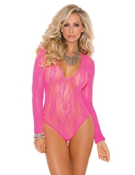 NEON LACE LONG SLEEVE TEDDY