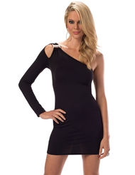 ONE SLEEVE JEWELED LITTLE BLACK DRESS