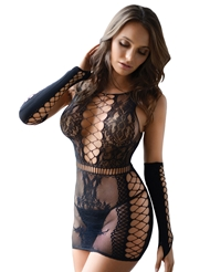 FISHNET DRESS AND FINGERLESS GLOVE SET - PLUS