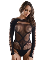 FISHNET LONG SLEEVE TEDDY - PLUS