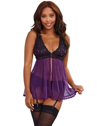 PRETTY PLUM FLYAWAY BABYDOLL WITH GARTERBELT