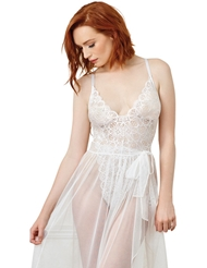 LACE TEDDY WITH SHEER MESH MAXI SKIRT