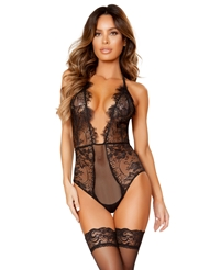 EYELASH AND FISHNET PLUNGE FRONT TEDDY