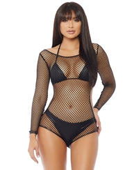 PLAY DATE LONG SLEEVE FISHNET ROMPER
