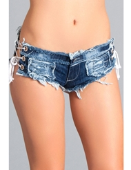 SEXY CUT OFF DENIM SHORTS - TIE SIDE