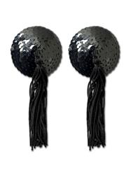 BLACK TASSEL PASTY WITH BLACK SEQUINS