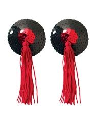BLACK & RED TASSEL SEQUIN PASTY