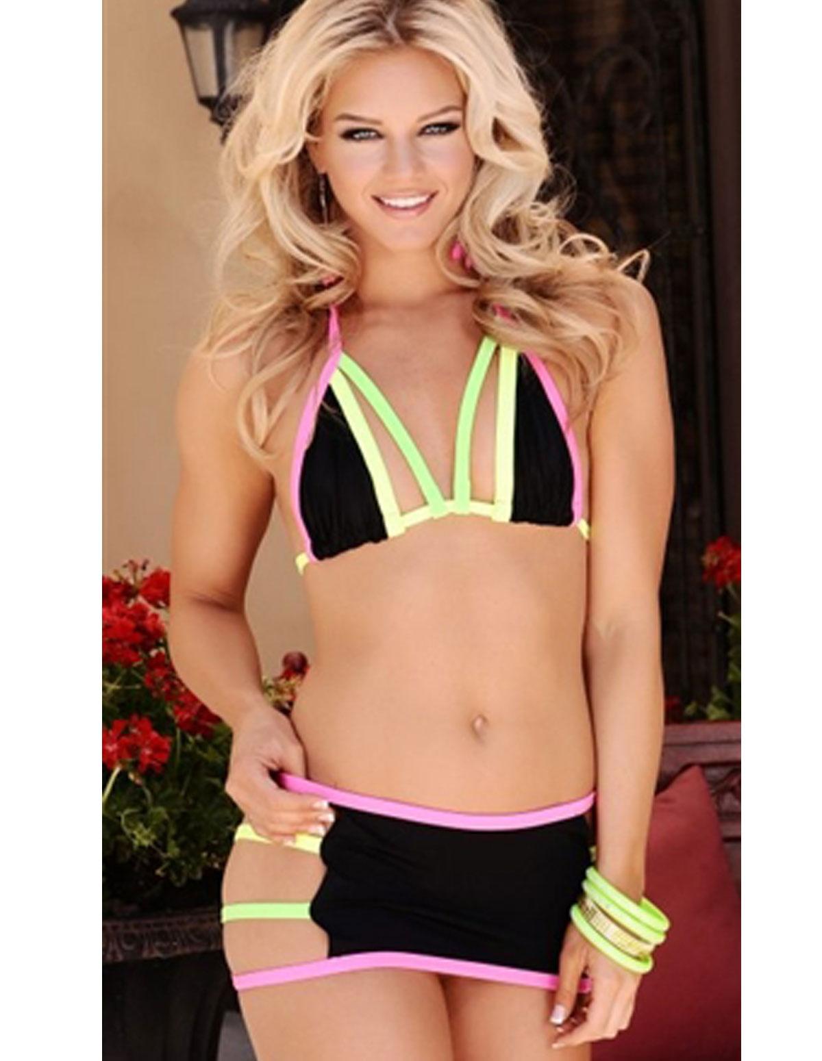 Neon Strap Skirt Set