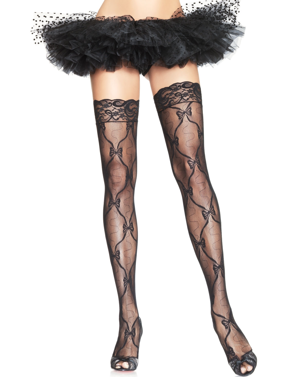 Bow Lace Thigh Highs - Plus