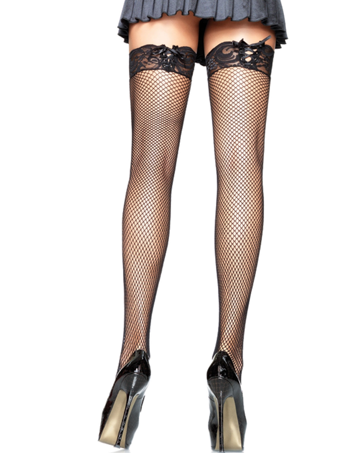 Corset Top Fishnet Thigh Highs - Plus