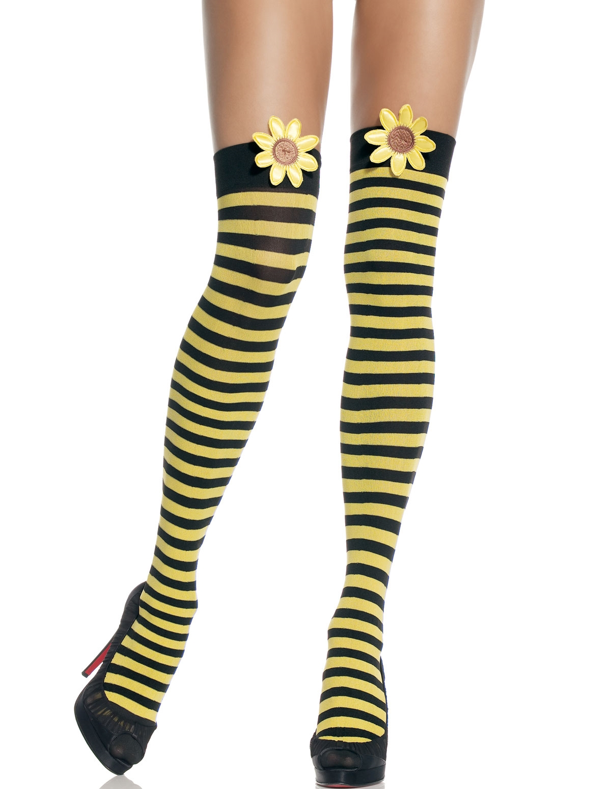 Striped Thigh Highs W/Daisy