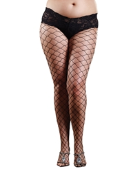FENCE NET PANTYHOSE WITH LACE SHORT - PLUS