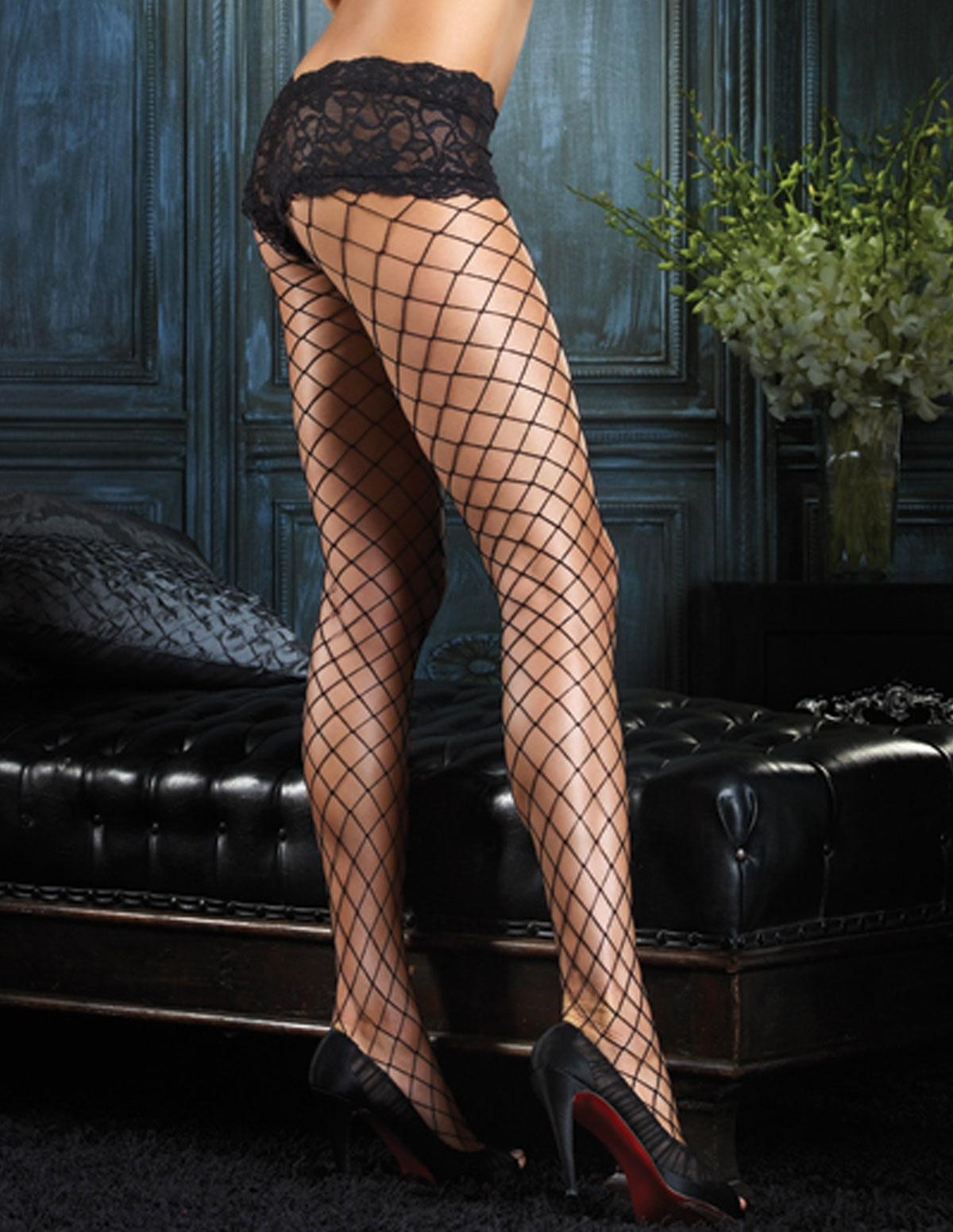 Fence Net Pantyhose W/Lace Short