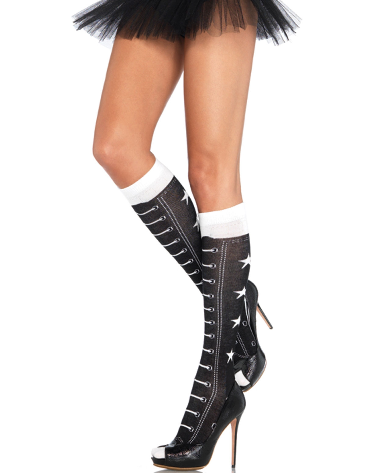 Acrylic Faux Lace Up Athletic Knee Highs