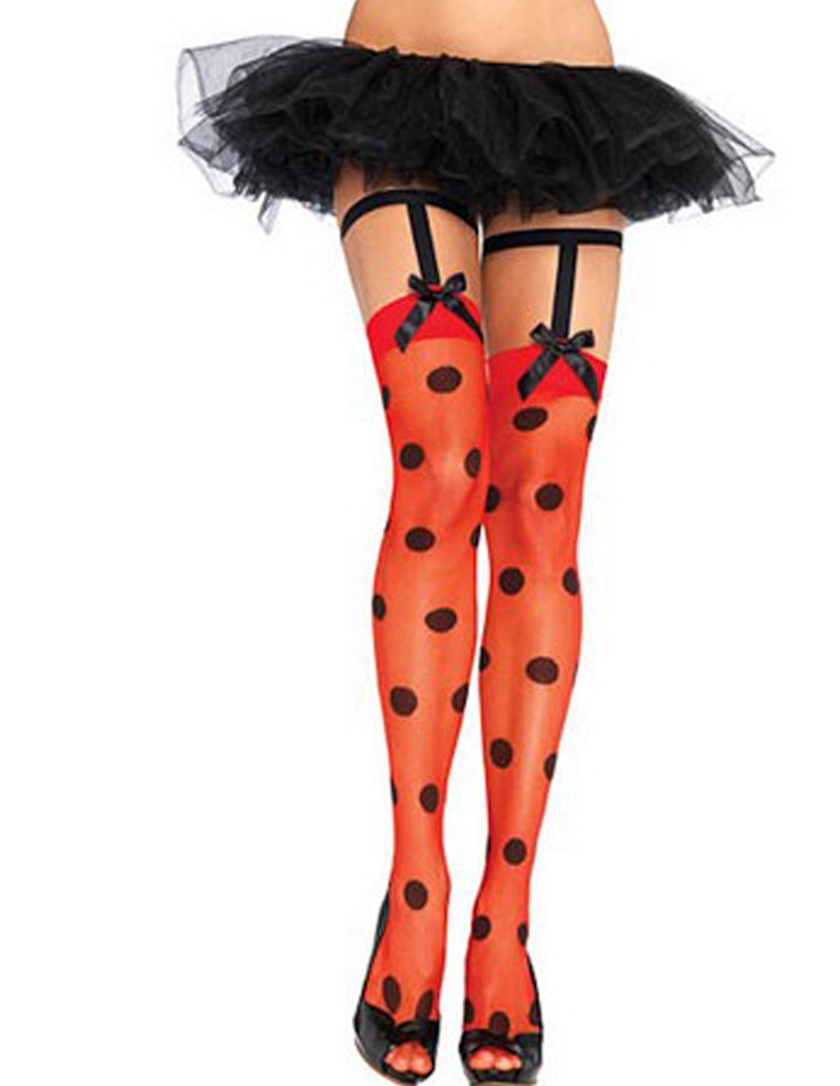 Polka Dot Suspender Thigh Highs
