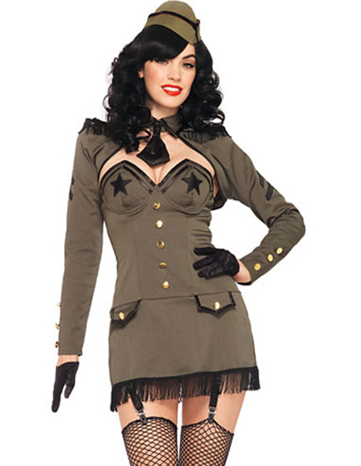 5Pc Pin-Up Army Girl Costume