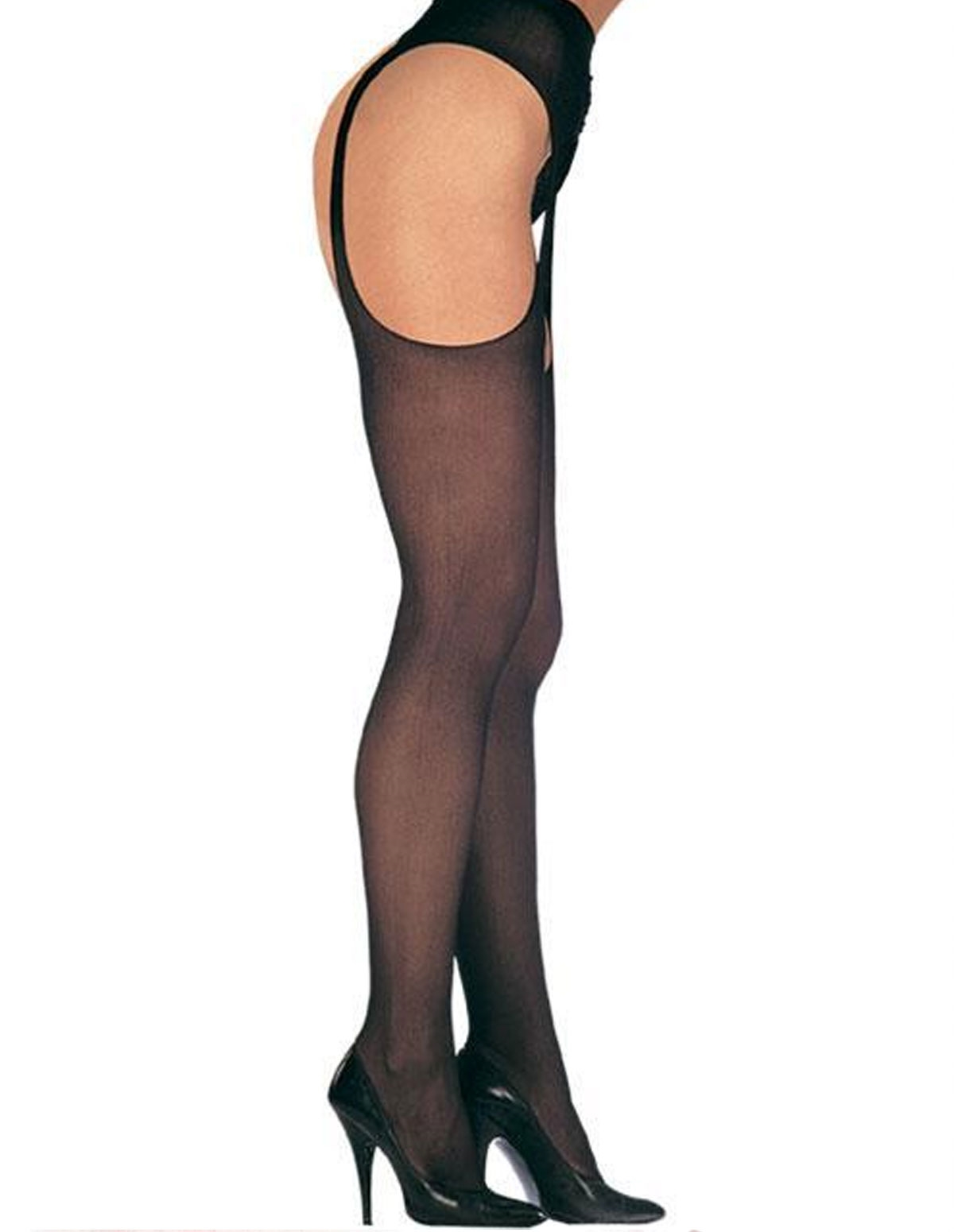 Sheer Suspender Pantyhose - Plus