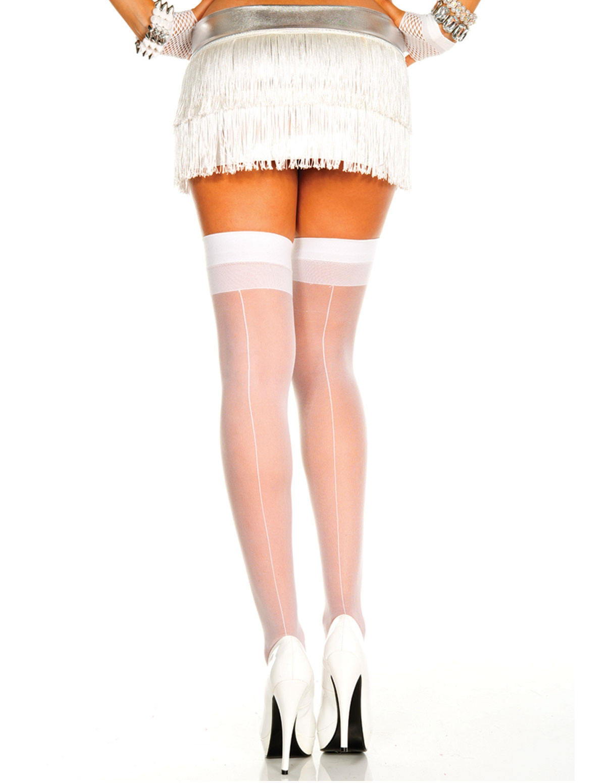 Backseam Sheer Thigh High - Plus