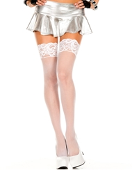 FISHNET LACE TOP STAY UP STOCKING - PLUS