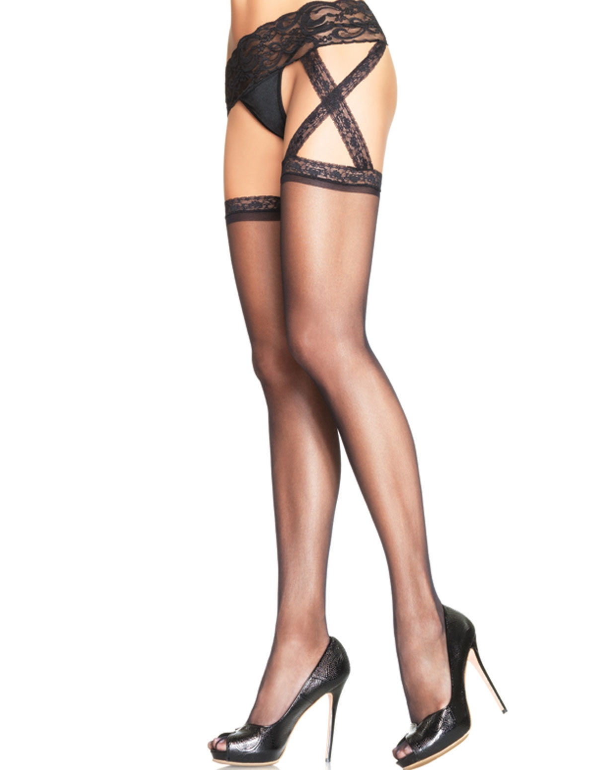 Lace Top Stocking With Garterbelt - Plus