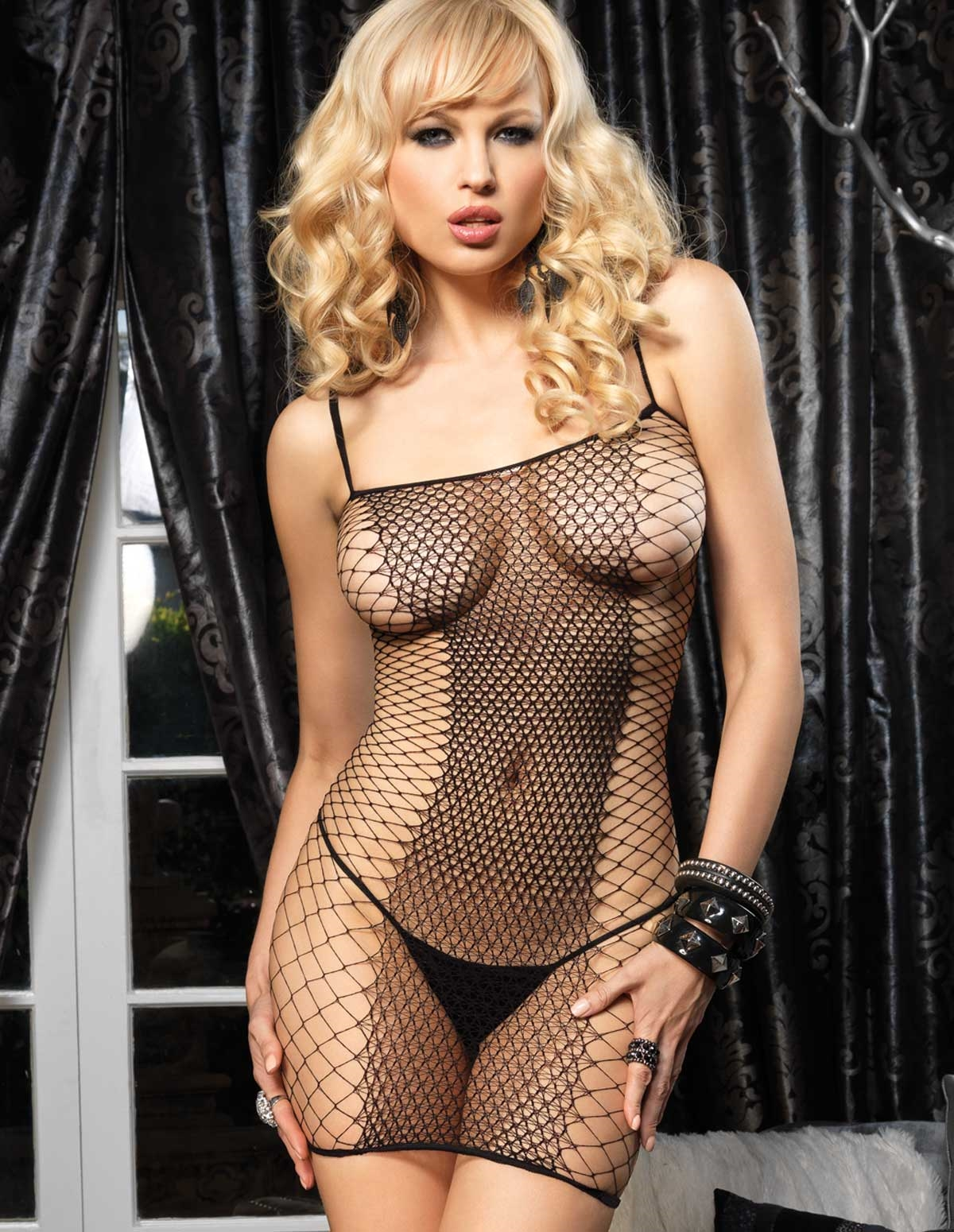 Fence Net Mini Dress