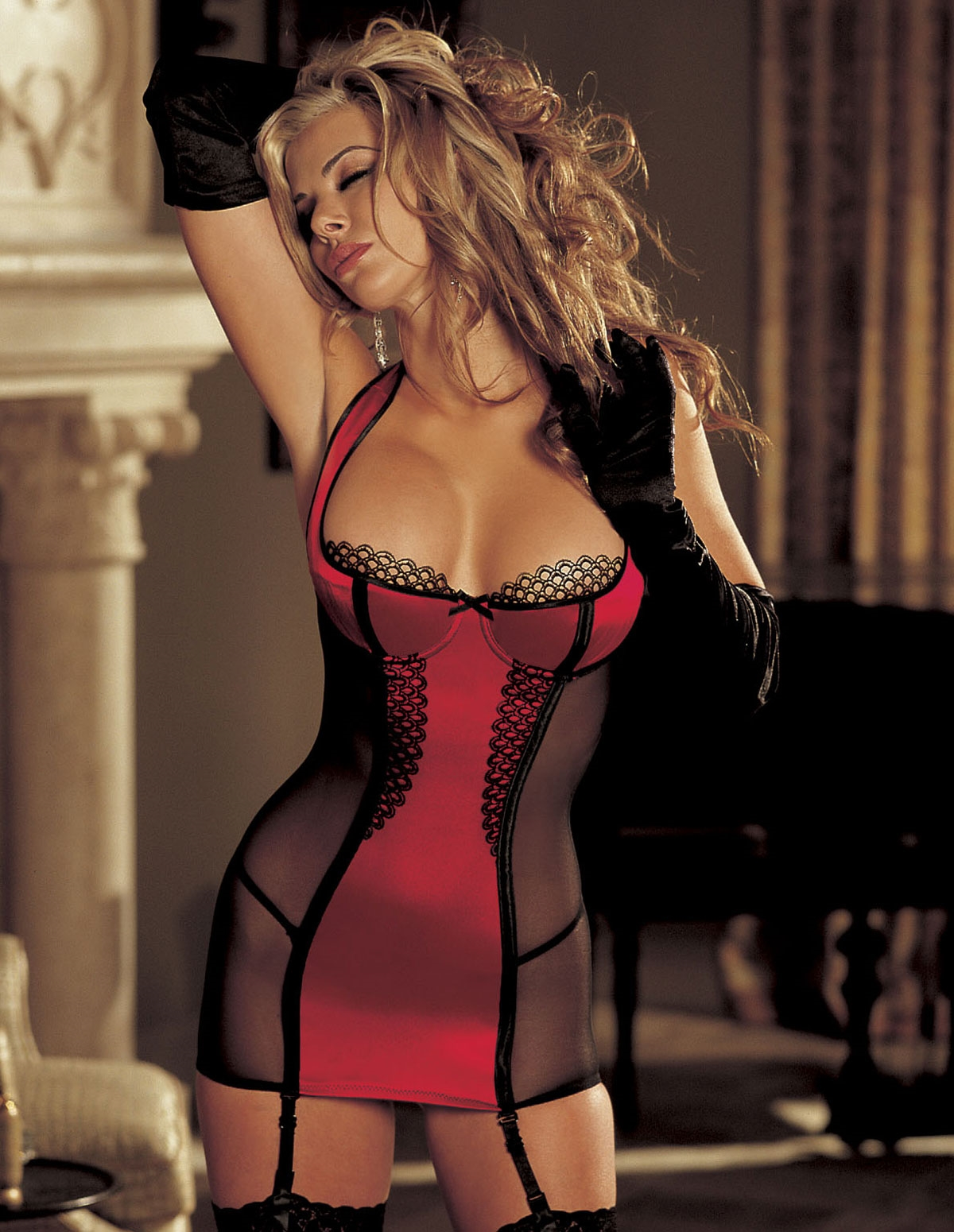 Stretch Satin & Mesh Chemise