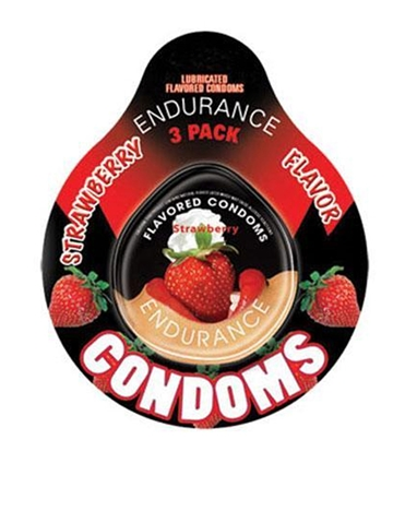 ENDURANCE STRAWBERRY 3PK CONDOMS