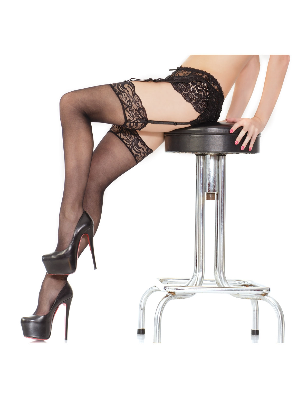 Sheer Lace Top Stocking - Reg & Plus