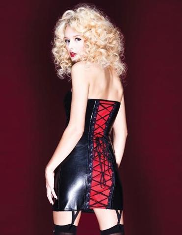 LACE-UP WET LOOK DRESS