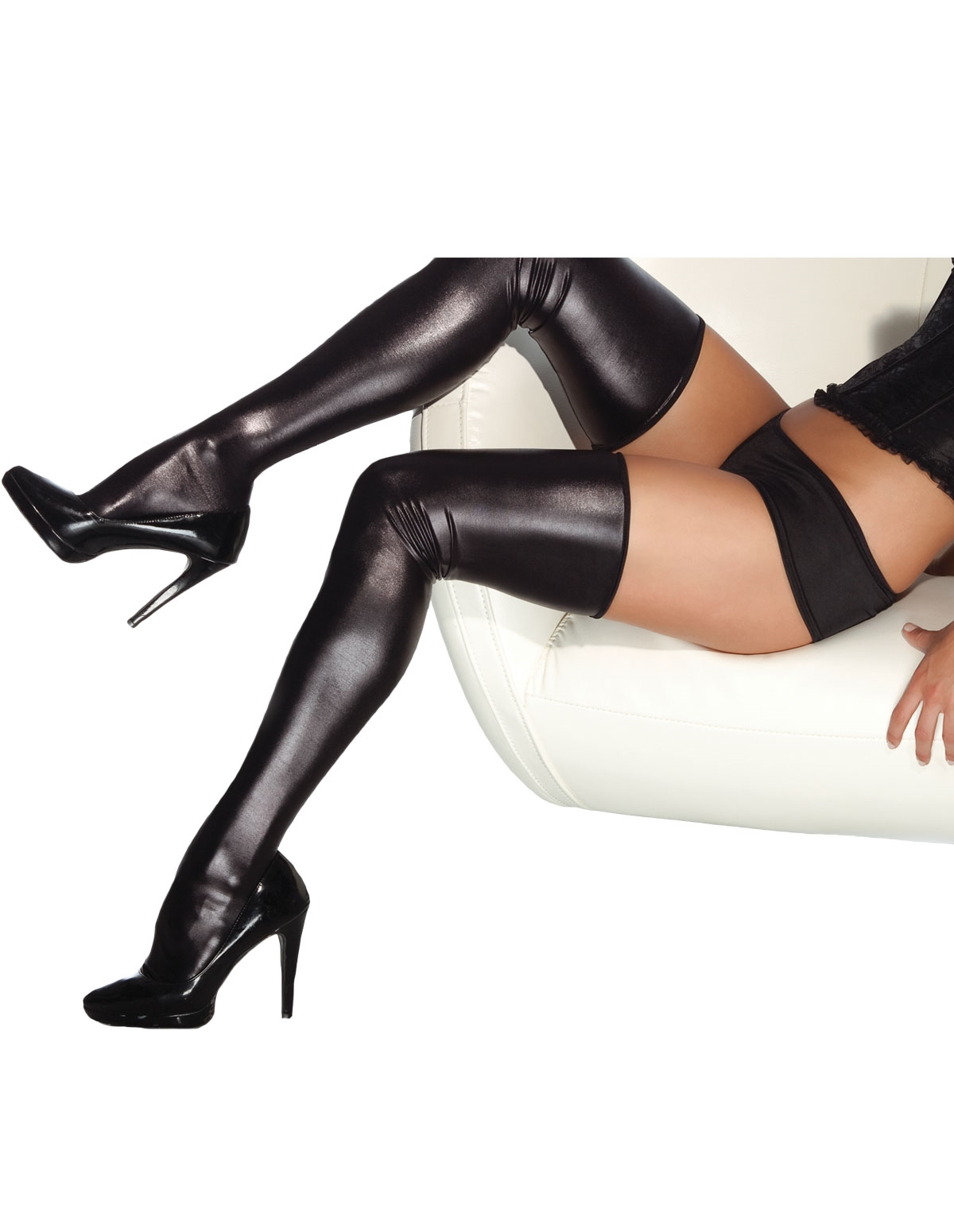 Wet Look Thigh High Stockings - Reg & Plus