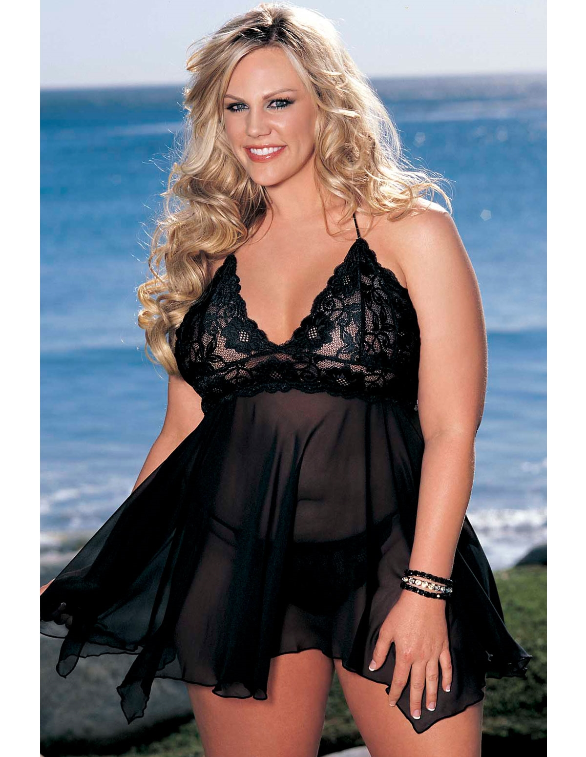 Chiffon And Stretch Lace Babydoll