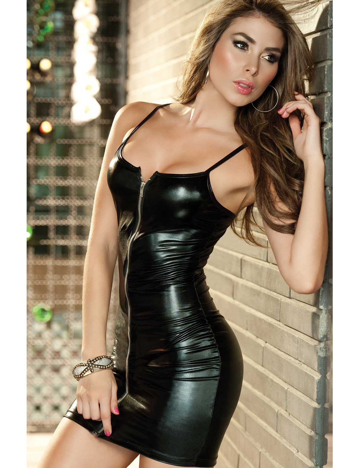 Wet Look Zip Dress