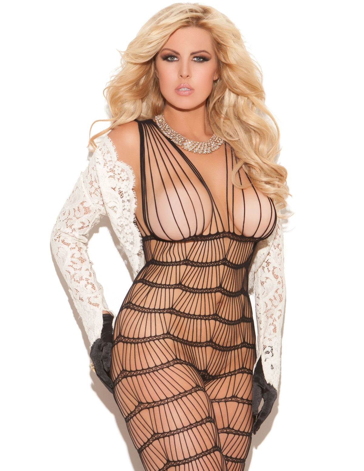 Criss-Cross Bodystocking - Plus