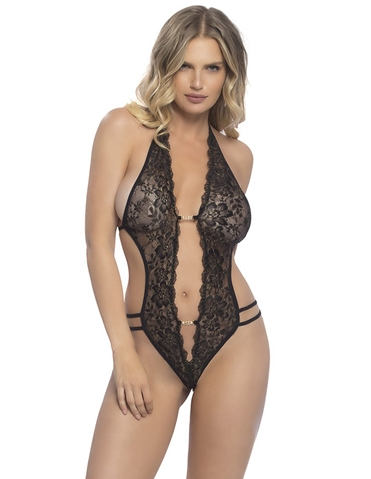 LACE CROTCHLESS TEDDY