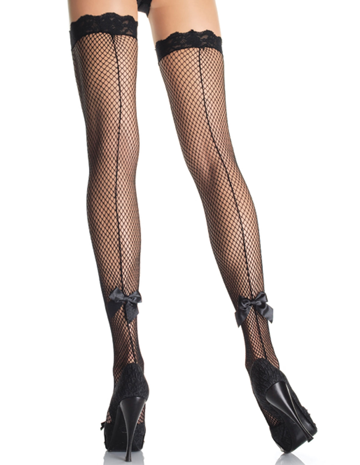 Fishnet Backseam Thigh High W/Bow